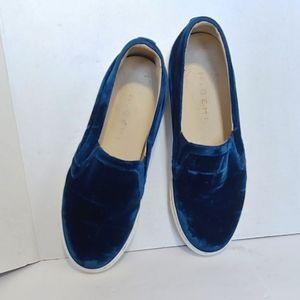 M. Gemi 'Sofia' blue velvet slip on sneakers